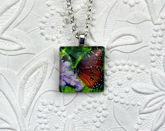 Daisy and Butterfly Photo Necklace on Square Cabochon Butterfly Necklace Butterfly Jewelry