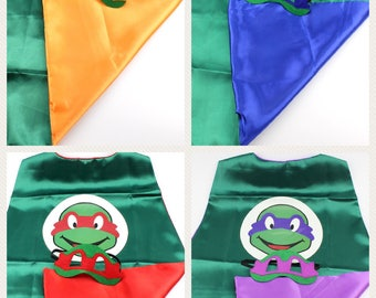 Ninja turtle cape and Mask, Cape and Mask, ninja turtle mask, Teenage Mutant Ninja Turtle Costume, Super hero cape and matching ma