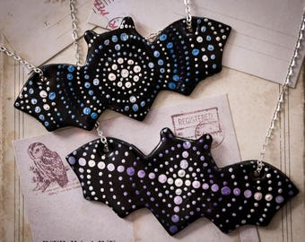 Bat Necklaces / polymer clay jewelry / gothic pendant / dots / pois / handpainted / dark / alternative / cute goth / colourful bats