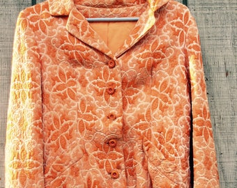 Planet Claire 1960s Orange Brocade Tailored Jackie O Style Jacket with Rhinestone Buttons
