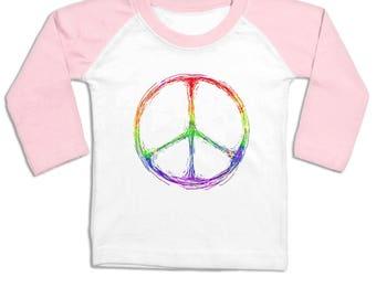 Rainbow Peace Sign long sleeve baby baseball t-shirt