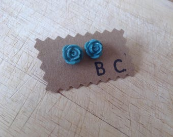 Small Teal Rose Stud Earrings
