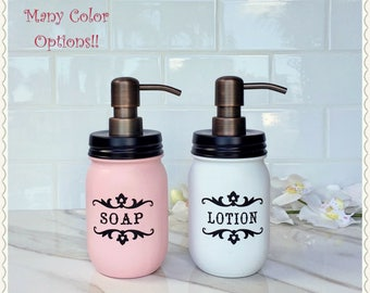 mason jar bathroom set. Mason Jar Soap  Lotion Dispenser Oil Rubbed Bronze Farmhouse Decor Shabby Chic jar bath set Etsy