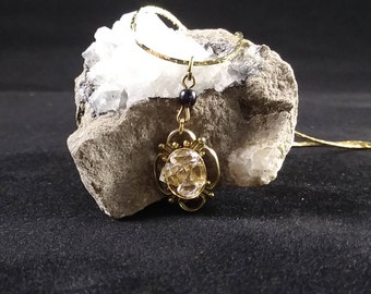 Vintage gold pendant with herkimer diamonds
