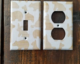 Wooden Animal Light Switch And Outlet Covers | Nursery Decor - Set of 4 - Silhouette - Wood Grain - Woodland - Wood Animals - Animal Art