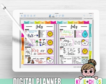 Digital Planner for GoodNotes on IPhone and IPad with functioning tabs HORIZONTAL