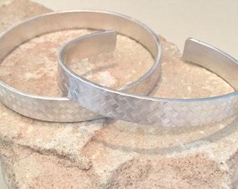 Sterling silver patterned bangle bracelet, sterling silver cuff bracelet, wide pattern bangle or cuff bracelet, stackable silver bracelet