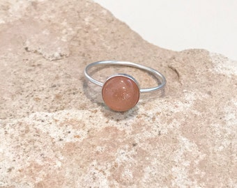 Sterling silver sunstone ring, round gemstone ring, round stone ring, stackable sterling silver ring, sterling silver ring, dainty ring
