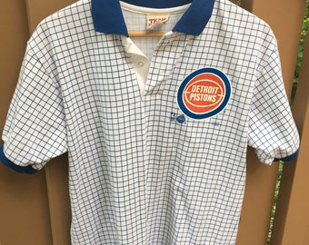 Vintage 1993 Detroit Pistons Polo Collared Shirt Size L Blue Checkered Team Rated Basketball NBA