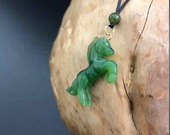 Celadon jade horse pendant w jade opal beads necklace canadian nephrite jade horse pendant jade necklace green jade aloadofball Choice Image