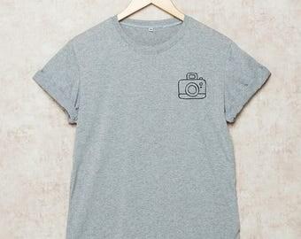 Photographer Shirt Photography Shirts Camera Tshirt Photographer Gift Pocket T-Shirt Size S , M , L , XL , 2XL , 3XL Grey White