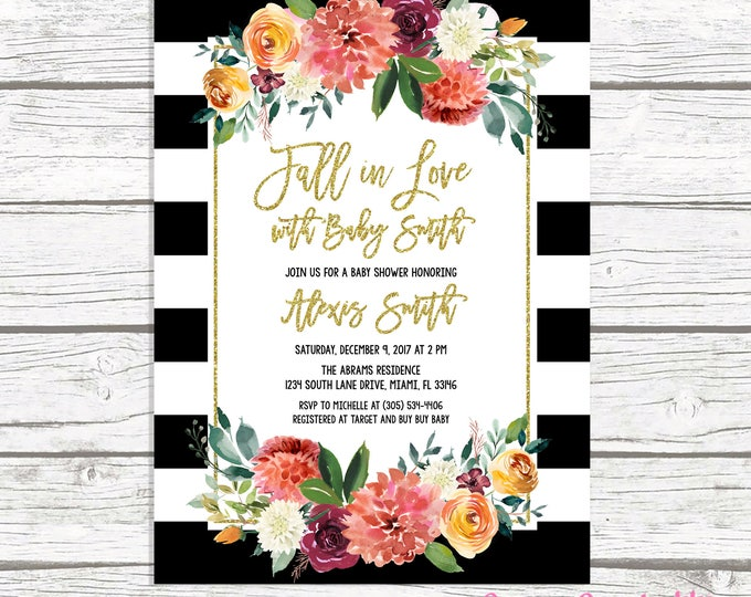 Fall in Love Baby Shower Invitation, Black and White Stripe Baby Shower Invitation, Gender Neutral Baby Shower, Fall Baby Shower Invite
