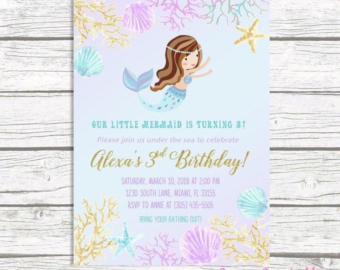 Mermaid Invitation, Mermaid Birthday Invitation, Mermaid Invite, Under the Sea Birthday Invitation, Girl 1st First Birthday Party Printable