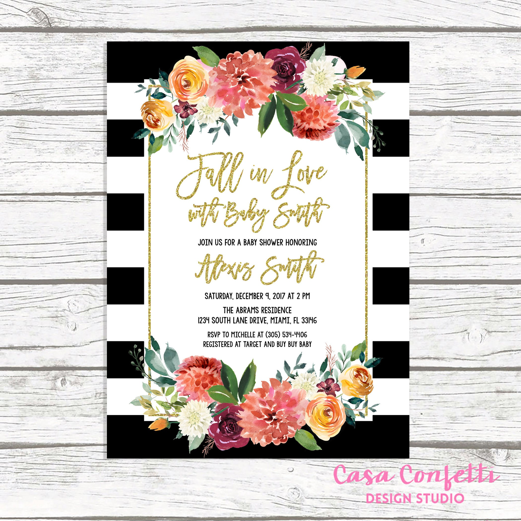 Fall in Love Baby Shower Invitation, Black and White Stripe Baby ...