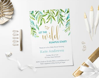 Where The Wild Things Are Baby Shower Invitation, Wild Rumpus, Printable Shower Invitation, Baby Shower Invite, Wild Things Baby Shower
