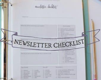 Newsletter Checklist - Newsletter planning sheet - Blogging checklist - Blog planning sheets