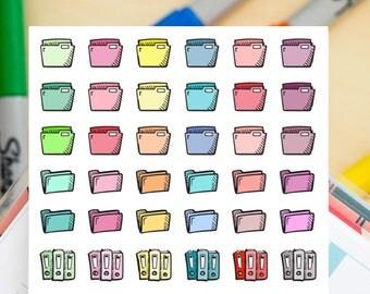 48 FIles / Organization  Mini Icons -  Colourful Hand Drawn Sticker Planner