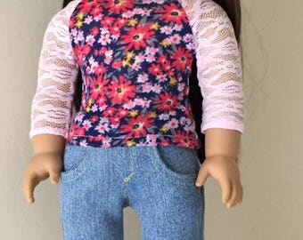 Eighteen inch doll separates:  pink lace-sleeve floral tee with distressed skinny jeans