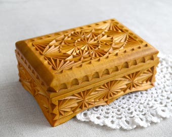 Vintage Wooden Jewelry Box Hand carved Geometrical gift for grandmother gift for her Christmas gift Jewelry storage Rustic decor Wood box