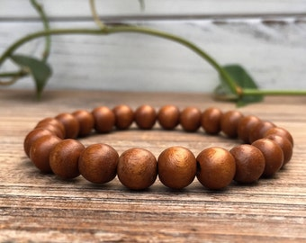 Brown Wood Bead Bracelet, Mens Beaded Bracelet, Womens Bead Bracelet, Wood Beaded Bracelet, Wooden Bead Bracelet, Wood Stacking Bracelet