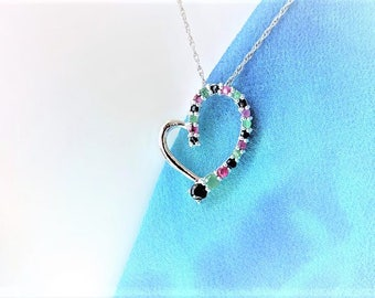 Heart Multi Stones Pendant Necklace Sterling Silver