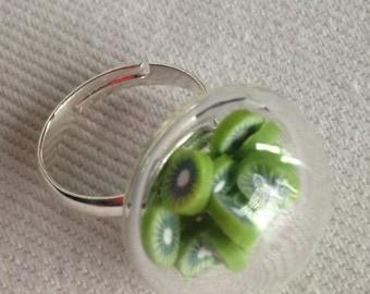 Kiwi cocktail adjustable glass ring