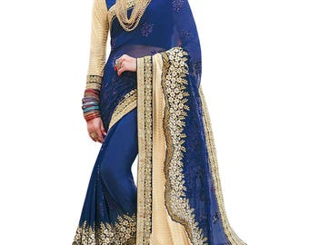 Indian designer party wear sari saree ethnic bollywood wedding Blue And Beige Colored Georgette And Lycra Saree.