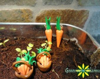 Farm Fresh Handmade Carrot Polymer Clay Charms