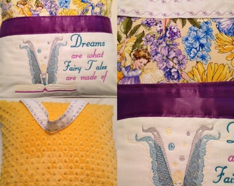 Pocket pillow fairy reading pillow yellow minky child reading pillow fairy fabric fairy tale quote zip close purple satin fairy embroidery