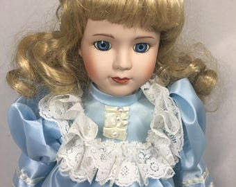 Vintage Dynasty Doll Blond Hair and Blue Eyes Fancy Blue Dress with Lace