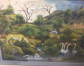 Vintage Asian Landscape with Animals Painted on Silk