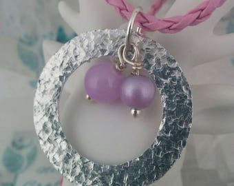 Textured, Pendant Necklace, Aluminium, Pink & Lilac, Pearl Beads, Faux Leather Cording