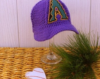 Baby BASEBALL  Hat, Kids Ball Cap, Baby baseball gifts, Arizona DIAMONDBACKS inspired (Handmade by me and not affiliated with the MLB)