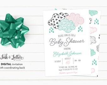Modern Baby Shower Invitation - Cloud Baby Shower Invitations - Pink and Teal Baby Shower - Printable Invitation - Gender Neutral Shower