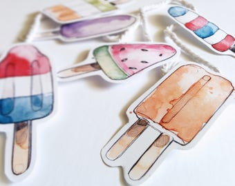 Popsicles Garland | Watercolor Banner | Wall Deco | Summer Illustration | Marie-Eve Arpin | Handmade | Paper Garland Art | Popsicles | Deco