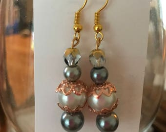 Large white pearl/gray glass and rose gold detailed earrings
