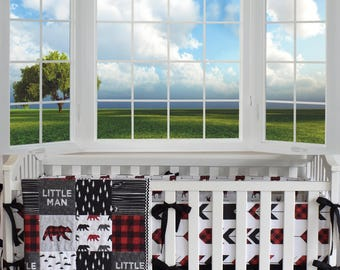 Little Man Bear Crib Bedding, Lumberjack bedding, woodland nursery, red buffalo plaid, red and black , quilt, bumpers, deer, skirt