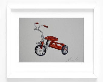 Original 5 x 7 Watercolor Painting - Red Tricycle