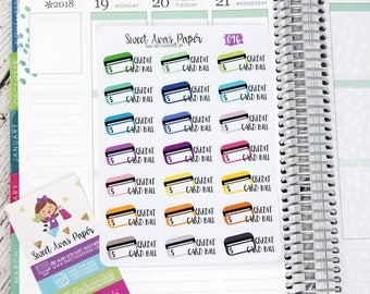 Credit Card Bill Planner Stickers | Fits Erin Condren, The Happy Planner, InkWELL Press, etc | Bill Stickers | Budget Stickers | 096