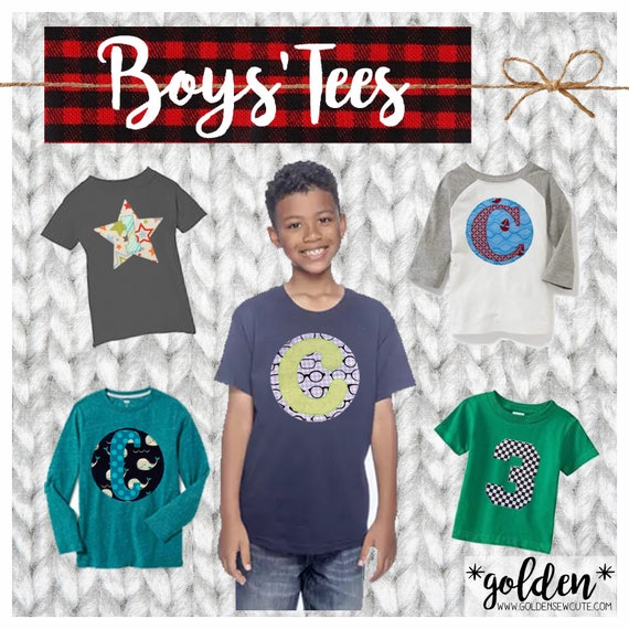 Long Sleeve Boy CYBER MONDAY 2017 SALE!  Applique Initial or Number Long Sleeve Tee, Shirt, Top, TShirt, Custom, Personalized, Initial