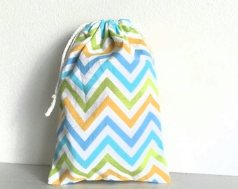 Drawstring, pouch, coin purse, coin pouch, bag - herringbone yellow blue green