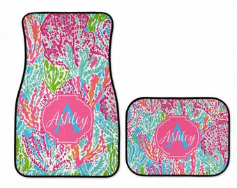 Preppy Sea Coral Personalized Car Floor Mats
