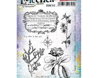 Eclectica {scrapcosy} - ESC03 - Voyager cling rubber vintage stamp set - PaperArtsy - botanical and maps stamps