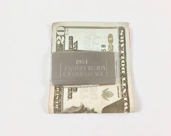 Money Clip with Nail File, Pocket Knife, Silver Tone, Vintage Stainless Steel, Eastern Region C E Conference, 1960s, Gift for Him
