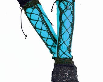 XX Long spandex lace up fingerless gloves lace cuffs turquoise black