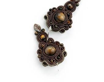 Tigers eye earrings, Boho Beaded dangle earrings - Tigers eye jewelry Soutache Brown earrings, Stone earrings Leaf inspiration earrings.