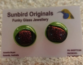 Lime green glass stud earrings with fun bronze shimmer