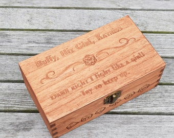 Girl Power Large Dice Box, Pathfinder, Dungeons and Dragons, Dice Box, Geek Gift, Dnd Present, Man Gift, rpg dice box, sister gift,