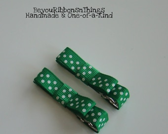 Christmas Green | White Dots | Hair Clips for Girls | Toddler Barrette | Kids Hair Accessories | No Slip Grip | Holidays