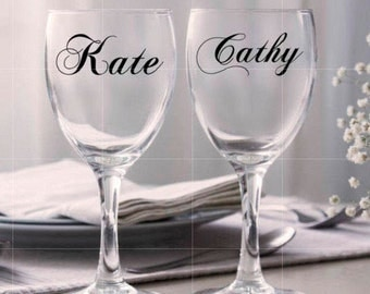 Custom name vinyl decal for wine glass, Personalized wine glass Decal DIY